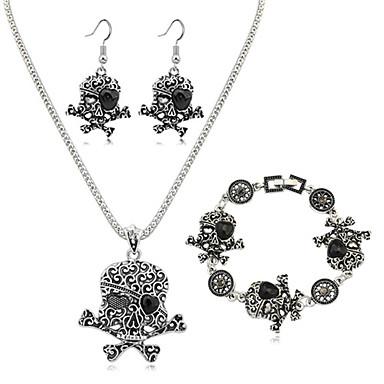 للمرأة مجموعة مجوهرات 1 قلادة 1 زوج من الأقراط 1 سوار - موضة أوروبي جمجمة مجموعة مجوهرات من أجل يوميا