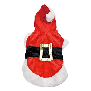 Pies Płaszcze Bluzy z kapturem Ubrania dla psów Urocza Zatrzymujący ciepło Modny Święta Bożego Narodzenia Znak Czerwony Kostium Dla