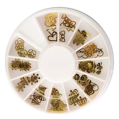 60PCS Altın Yumuşak Metal Nail Art Süsleme Setleri