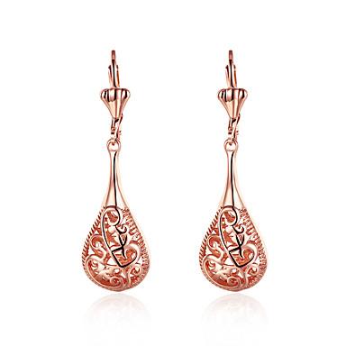 Damskie Kolczyki wiszące Pokryte różowym złotem Imitacja diamentu Stop Kropla Biżuteria Ślub Impreza Codzienny
