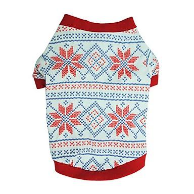 Câini Tricou Îmbrăcăminte Câini Iarnă Vara Fulg zăpadă Drăguț Modă Crăciun Alb