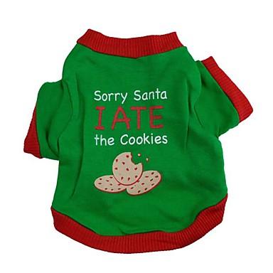 Köpek Tişört Köpek Giyimi Harf & Sayı Yeşil Pamuk Kostüm Evcil hayvanlar için Erkek / Kadın's Moda / Noel