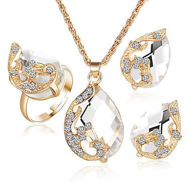 Γυναικεία Κρυστάλλινο Συνθετικό Diamond Συνθετικό ζαφείρι Συνθετικό Σμαράγδι Κρύσταλλο Στρας Επιχρυσωμένο Κράμα 1 Κολιέ 1 Ζευγάρι