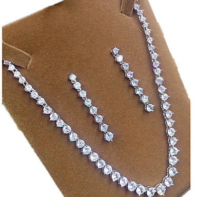 Naisten Korusetti Zirkoni Cubic Zirkonia Crown Shape Kaulakorut Korvakorut Käyttötarkoitus Party Häälahjaksi