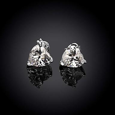 Γυναικεία Κουμπωτά Σκουλαρίκια Love μινιμαλιστικό στυλ Ζιρκονίτης Cubic Zirconia Χαλκός Επάργυρο Προσομειωμένο διαμάντι Κοσμήματα Γάμου