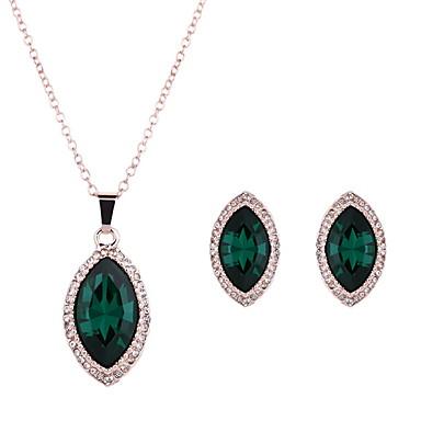 Γυναικεία Σετ Κοσμημάτων Συνθετικό Σμαράγδι Κρύσταλλο Κράμα Γάμου Πάρτι Καθημερινά Causal 1 Ζευγάρι σκουλαρίκια Κολιέ Κοστούμια Κοσμήματα