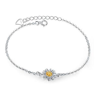 Kadın Zincir & Halka Bileklikler Moda Som Gümüş Flower Shape Mücevher Uyumluluk Doğumgünü