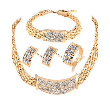 Pentru femei Seturi de bijuterii de mireasă Ștras Plastic Aliaj Altele De Bază Petrecere Inele 1 Pereche de Cercei 1 Brățară Coliere