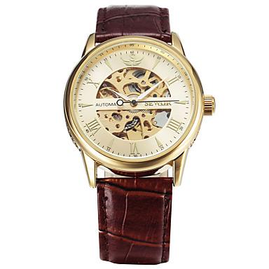 Męskie zegarek mechaniczny Do sukni/garnituru Modny Sportowy Nakręcanie automatyczne Kalendarz Duża tarcza Skóra naturalna Pasmo Vintage
