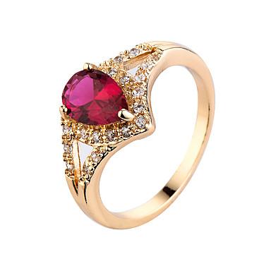 Γυναικεία Δαχτυλίδι Cubic Zirconia Συνθετικό Σμαράγδι κοσμήματα πολυτελείας Ζιρκονίτης Cubic Zirconia Επιχρυσωμένο Κοσμήματα Για Causal