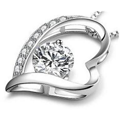 Naisten Riipus-kaulakorut Heart Shape Sterling-hopea Yksinkertainen Love Valkoinen Purppura Korut Varten Kausaliteetti 1kpl