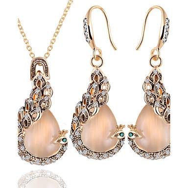 Σετ Κοσμημάτων Οπάλιο Ευρωπαϊκό Οπάλιο Κράμα Παγώνι Χρυσό 1 Κολιέ 1 Ζευγάρι σκουλαρίκια Για Καθημερινά 1set Δώρα Γάμου