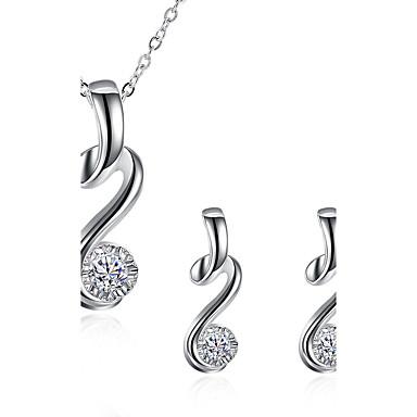 Γυναικεία Σετ Κοσμημάτων Cubic Zirconia κοσμήματα πολυτελείας κοστούμι κοστουμιών Επάργυρο Προσομειωμένο διαμάντι 1 Κολιέ 1 Ζευγάρι