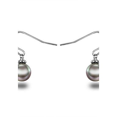 Kadın's Genç Kız Halka Küpeler İnci İnci Som Gümüş İmitasyon İnci Gri İnci Mücevher Gümüş/Siyah Düğün Parti Günlük Kostüm takısı