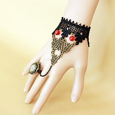 Γυναικεία Δαντέλα Κρεμαστό Δαχτυλίδια με Βραχιόλι - Γκόθικ Μαύρο Βραχιόλια Για Halloween