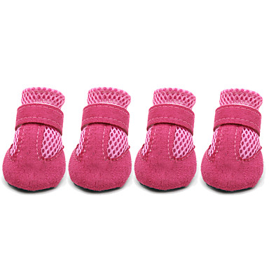 cheap Dog Clothing & Accessories-Dog Boots / Shoes Casual / Daily Solid Colored Red Blue Pink For Pets / Summer / Winter