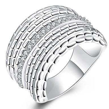 Yüzükler Kübik Zirconia Günlük Mücevher Zirkon Bakır Gümüş Kaplama Kadın Yüzük 1pc,8 9 10 Gümüş