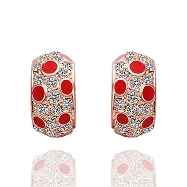 Niittikorvakorut Cubic Zirkonia Zirkoni Ruusukulta-päällystetty Metalliseos Kulta Korut Varten Päivittäin Kausaliteetti 1 pari