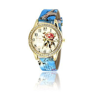 Bayanların Moda Saat Sahte Elmas Saat Quartz PU Bant Beyaz Mavi Kırmızı Kahverengi Gri Pembe Gül Fuşya Kahve Kırmzı Mavi Pembe