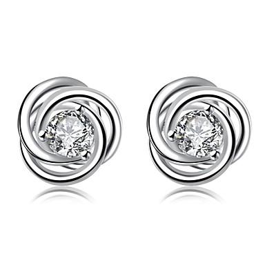 Vidali Küpeler Kübik Zirconia Zirkon Bakır Gümüş Kaplama Gümüş Mücevher Için Günlük 1 çift