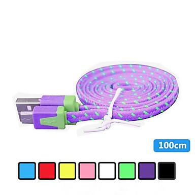 1m v8 micro usb tenacidade de nylon cabo de dados de macarrão para Samsung e outro telefone (cores sortidas)