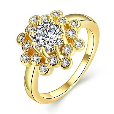 Pentru femei Band Ring Diamant sintetic Galben Roz auriu Auriu Zirconiu Zirconiu Cubic Placat Cu Aur Roz Aliaj Altele Geometric Shape