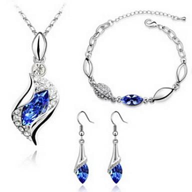 Dame Seturi de bijuterii Cristal Cristal 1 Colier 1 Pereche de Cercei 1 Brățară Pentru Petrecere Cadouri de nunta