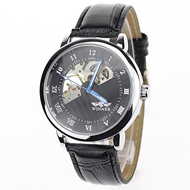 Męskie zegarek mechaniczny Zegarek na nadgarstek Do sukni/garnituru Modny Sportowy Mechaniczny, nakręcanie ręczne Na codzień Skóra