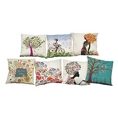 7 szt Bielizna Poszewka na poduszkę Pokrywa Pillow, Jendolity kolor Kwiaty Textured Na co dzień Styl plażowy Wałek Tradycyjny / Classic