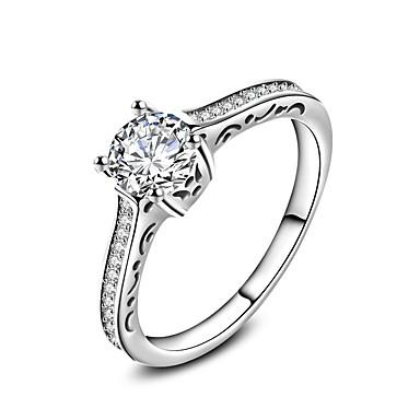 Damskie Cyrkon Srebrny Pierścionek zaręczynowy Pierscionek Band Ring - Modny White Pierścień Na Ślub Impreza Specjalne okazje Codzienny