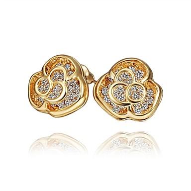 Vidali Küpeler Kübik Zirconia Zirkon Gümüş Kaplama Altın Kaplama Gül Rengi Altın Kaplama alaşım Altın Gümüş Gül Mücevher Için Günlük1