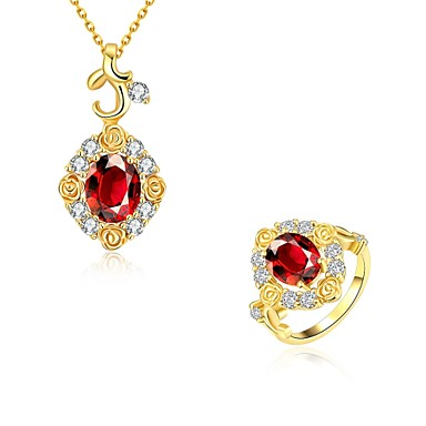 Damskie Zestawy biżuterii Cyrkonia Luksusowy Codzienny Casual Cyrkon Cyrkonia Miedź Pozłacane Imitacja diamentu Róże Kwiat Pierścionki 1