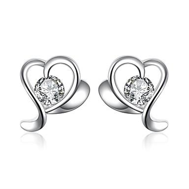 Kolczyki na sztyft Cyrkonia Miłość minimalistyczny styl Modny Europejski Cyrkon Cyrkonia Miedź Posrebrzany Silver Biżuteria NaCodzienny
