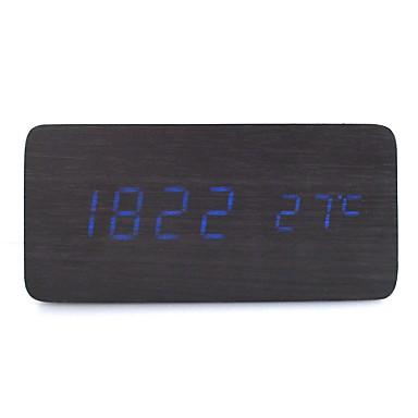 raylinedo® cele mai recente albastru de design de moda lemn negru condus lemn afișare alarmă ceas digital de -time data temperatura