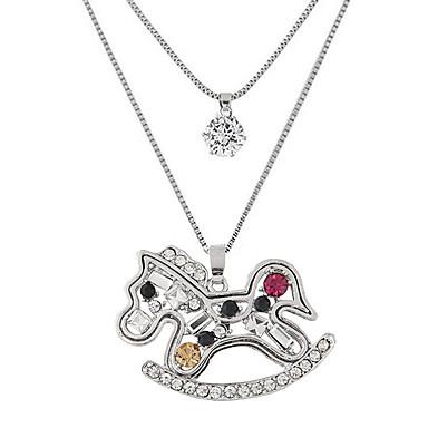 للمرأة حجر الراين تقليد الماس قلائد الحلي - اسلوب لطيف موضة طبقة مزدوجة حيوان فضي قلادة من أجل حزب يوميا