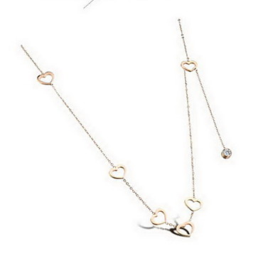 Damskie Naszyjniki z wisiorkami Heart Shape Stal tytanowa Imitacja diamentu Klasyczny Miłość Serce Modny luksusowa biżuteria Gold