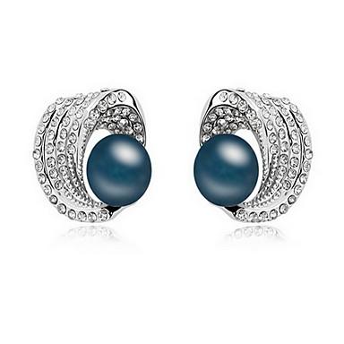 Vidali Küpeler İnci Doğa İnci alaşım Mücevher Beyaz Siyah Koyu Mavi Gri Bakır Mücevher Için Günlük 1 çift