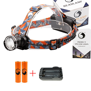 U'King Kafa Lambaları Far 2000 lm 3 Kip Cree XM-L T6 Piller ve Şarj Aleti ile Zoomable Ayarlanabilir Fokus Çok Fonksiyonlu Kompakt Boyut