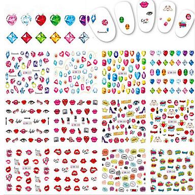 1pcs 12design Sanat Sticker Nail Su Transfer Etiketi Makyaj Kozmetik Sanat Tasarım Nail