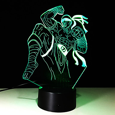 1pc dokunmatik 7 renkli savaşçı lamba 3d ışık renk görme stereo renkli degrade akrilik lamba gece lambası vizyon açtı