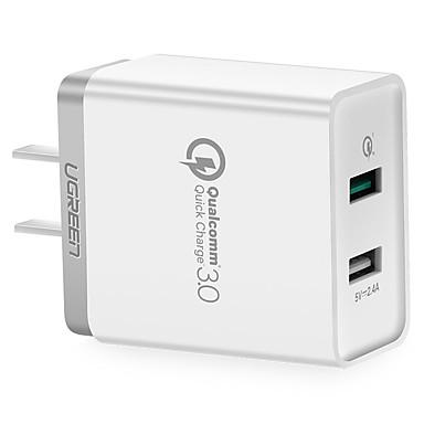 Βύσμα ΗΠΑ Φορτιστής USB τηλεφώνου Γρήγορη φόρτιση Πολλαπλές θύρες cm Εξόδους 2 θύρες USB 2.4A AC 100V-240V