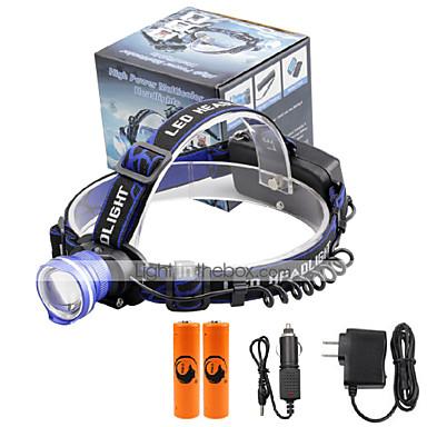 U'King Kafa Lambaları Far LED 2000 lm 3 Kip Cree XM-L T6 Piller ve Şarj Aletleri ile Zoomable Alarm Ayarlanabilir Fokus Çok Fonksiyonlu