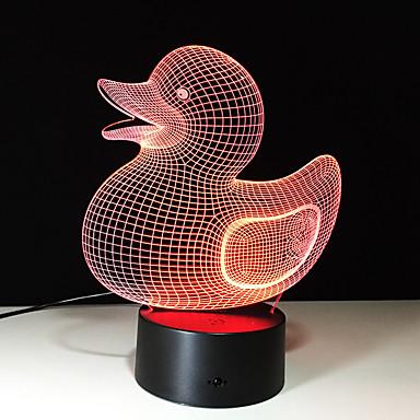 1kpl touch 7-väri ankanpoikanen johtanut lampun 3d valon väri visio stereo värikäs kaltevuus akryyli lamppu yövalo visio