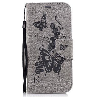 Maska Pentru Samsung Galaxy A5(2017) A3(2017) Titluar Card Portofel Cu Stand Întoarce Model Embosat Carcasă Telefon Fluture Greu PU piele
