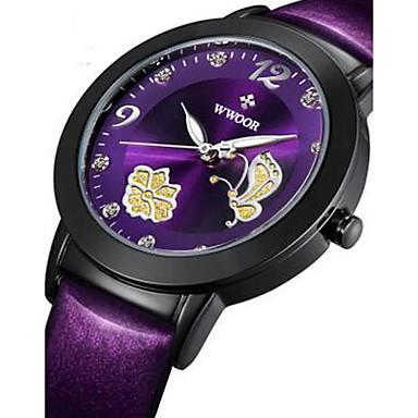 WWOOR Damskie Modny Zegarek na nadgarstek Do sukni/garnituru Kwarcowy sztuczna Diament Świecący Skóra Pasmo Urok Luksusowy Kwiat Czarny
