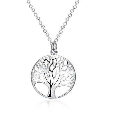 نساء Circle Shape Geometric Shape شجرة الحياة موضة قلائد الحلي القلائد بيان تصفيح بطلاء الفضة قلائد الحلي القلائد بيان ، يوميا