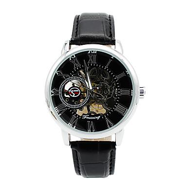 للرجال ووتش الميكانيكية ساعة الهيكل ساعات فاشن كوارتز جلد فرقة سحر كاجوال أسود بني
