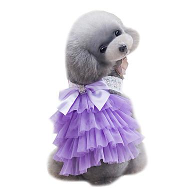 Câine Rochii Îmbrăcăminte Câini Dantelă Mov Roz Albastru Deschis Șifon Costume Pentru animale de companie Pentru femei Draguț Modă Nuntă