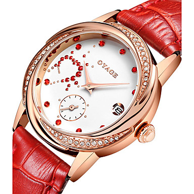 Pentru femei Ceas La Modă Quartz Piele Autentică Bandă Roșu Pink Rose
