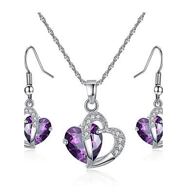 Damskie Zestawy biżuterii Bridal Jewelry Sets Syntetyczny Ametyst Kryształ Kryształ Cyrkon Cyrkonia Stop Serce Miłość Modny Europejski